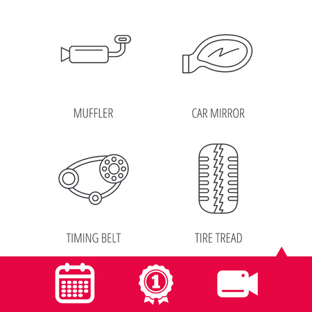 tread: Achievement and video cam signs. Tire tread, car mirror and timing belt icons. Muffler linear sign. Calendar icon. Vector