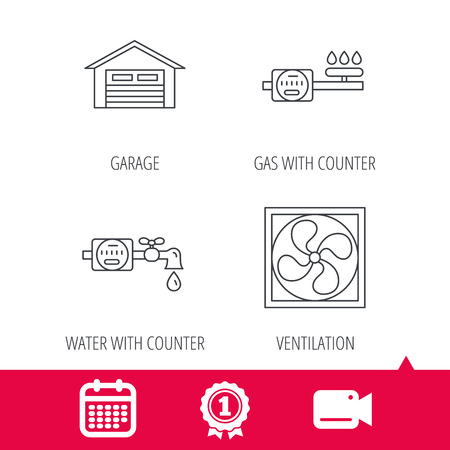 Achievement and video cam signs. Ventilation, garage and water counter icons. Gas counter linear sign. Calendar icon. Vector