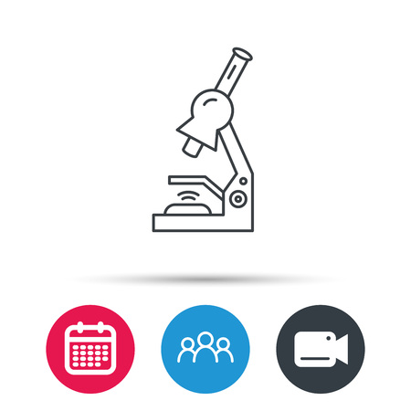criminology: Microscope icon. Medical laboratory equipment sign. Pathology or scientific symbol. Group of people, video cam and calendar icons. Vector Illustration