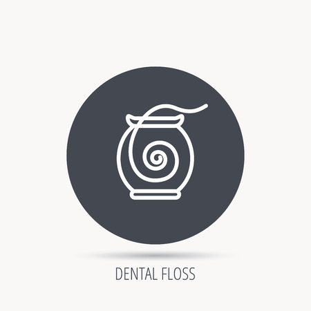 Dental floss icon. Teeth cleaning sign. Oral hygiene symbol. Round web button with flat icon. Vector Illustration