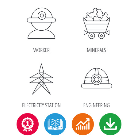 searcher: Worker, minerals and engineering helm icons. Electricity station linear sign. Award medal, growth chart and opened book web icons. Download arrow. Vector