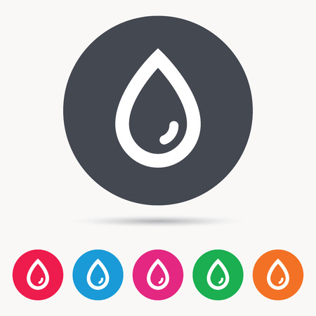 Water drop icon. Natural aqua symbol. Colored circle buttons with flat web icon. Vector Illustration