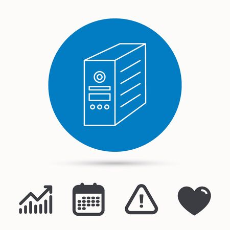 pc case: Computer server icon. PC case or tower sign. Calendar, attention sign and growth chart. Button with web icon. Vector Illustration