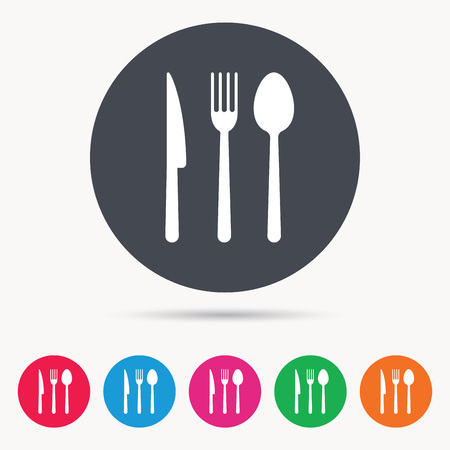 Fork, knife and spoon icons. Cutlery symbol. Colored circle buttons with flat web icon. Vector Illustration