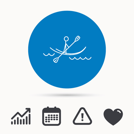 boating: Kayaking on waves icon. Rafting or canoeing sign. Boating sport symbol. Calendar, attention sign and growth chart. Button with web icon. Vector Illustration