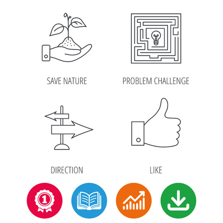 medal like: Save nature, thumb up and direction icons. Problem challenge, like linear signs. Award medal, growth chart and opened book web icons. Download arrow. Vector