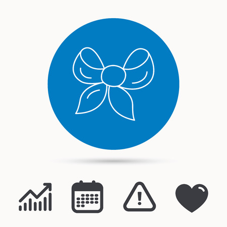 Gift bow icon. Present decoration sign. Ribbon for packaging symbol. Calendar, attention sign and growth chart. Button with web icon. Vector