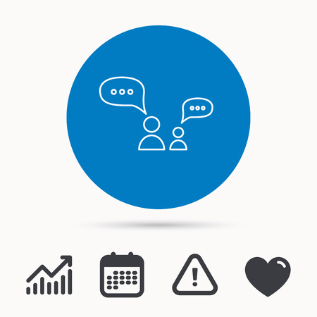 friend chart: Dialog icon. Chat speech bubbles sign. Discussion messages symbol. Calendar, attention sign and growth chart. Button with web icon. Vector Illustration