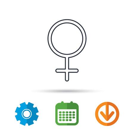 Vrouwelijk pictogram. Het geslachtsteken van vrouwen. Kalender, tandrad en downloadpijlborden. Gekleurde platte web iconen. Vector