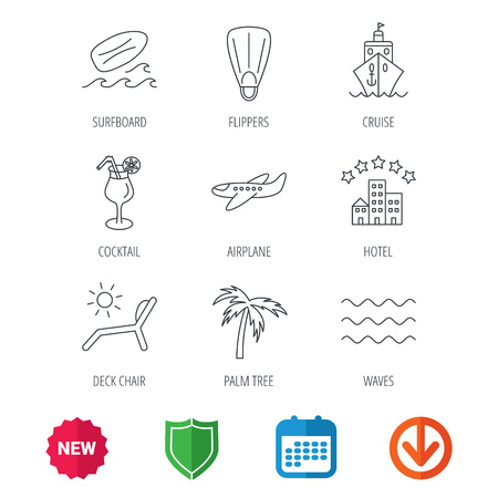 new arrow: Cruise, waves and cocktail icons. Hotel, palm tree and surfboard linear signs. Airplane, deck chair and flippers flat line icons. New tag, shield and calendar web icons. Download arrow. Vector Illustration