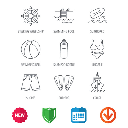 new arrow: Surfboard, swimming pool and trunks icons. Beach ball, lingerie and shorts linear signs. Flippers, cruise ship and shampoo icons. New tag, shield and calendar web icons. Download arrow. Vector