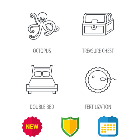 coitus: Fertilization, double bed and octopus icons. Treasure chest linear signs. Shield protection, calendar and new tag web icons. Vector