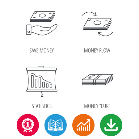 cash book: Banking, cash money and statistics icons. Money flow, save money linear sign. Award medal, growth chart and opened book web icons. Download arrow. Vector