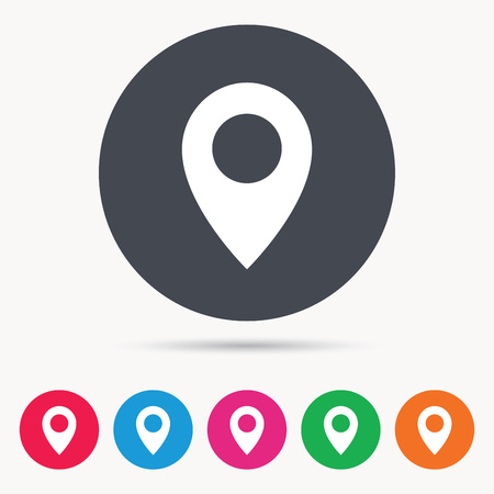Location icon. Map pointer symbol. Colored circle buttons with flat web icon. Vector Illustration