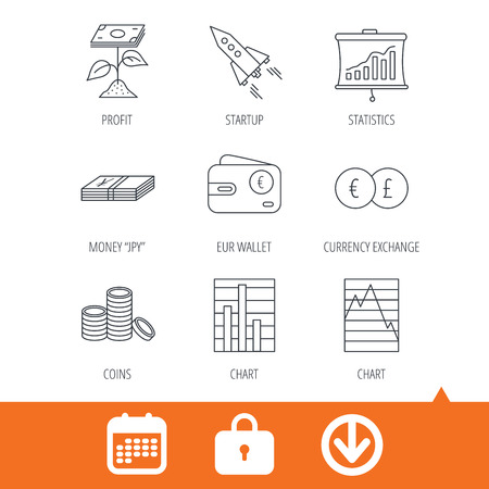 deceleration: Profit investment, cash money and startup rocket icons. Wallet, currency exchange and euro linear signs. Chart, coins and statistics icons. Download arrow, locker and calendar web icons. Vector