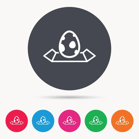 colored egg: Dinosaur egg icon. Location map symbol. Pokemon egg concept. Colored circle buttons with flat web icon. Vector