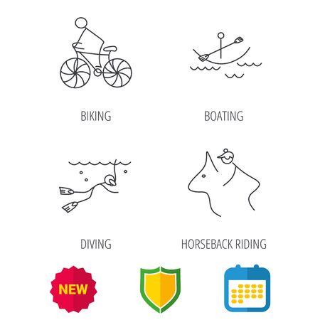 boating: Diving, biking and horseback riding icons. Boating linear sign. Shield protection, calendar and new tag web icons. Vector Illustration
