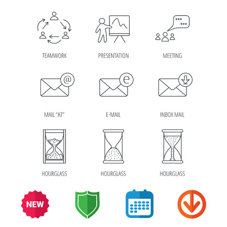 new arrow: Teamwork, presentation and meeting chat bubbles icons. E-mail inbox, hourglass linear signs. New tag, shield and calendar web icons. Download arrow.