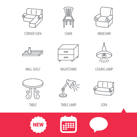 armchair shopping: Corner sofa, table and armchair icons. Chair, ceiling lamp and nightstand linear signs. Wall shelf furniture flat line icons. New tag, speech bubble and calendar web icons. Vector Illustration