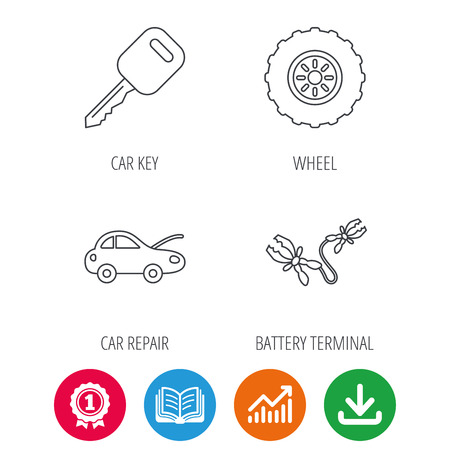tread: Car key, wheel and repair service icons. Battery terminal linear sign. Award medal, growth chart and opened book web icons. Download arrow. Vector