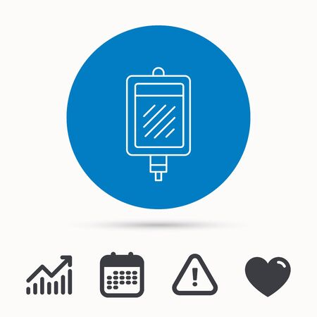 transfuse: Blood donation icon. Medicine drop counter sign. Calendar, attention sign and growth chart. Button with web icon. Vector