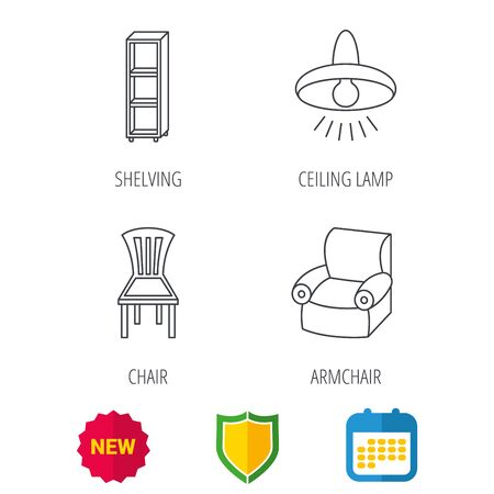 armchair shopping: Chair, ceiling lamp and armchair icons. Shelving linear sign. Shield protection, calendar and new tag web icons. Vector Illustration