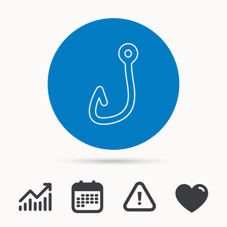 fishinghook: Fishing hook icon. Fisherman equipment sign. Angling symbol. Calendar, attention sign and growth chart. Button with web icon. Vector