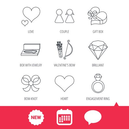 brilliant heart: Love heart, brilliant and engagement ring icons. Bow, couple and gift box linear signs. Valentine amour arrows flat line icons. New tag, speech bubble and calendar web icons. Vector Illustration