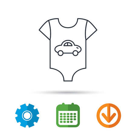 Newborn clothes icon. Baby shirt wear sign. Car symbol. Calendar, cogwheel and download arrow signs. Colored flat web icons. Vector Illustration