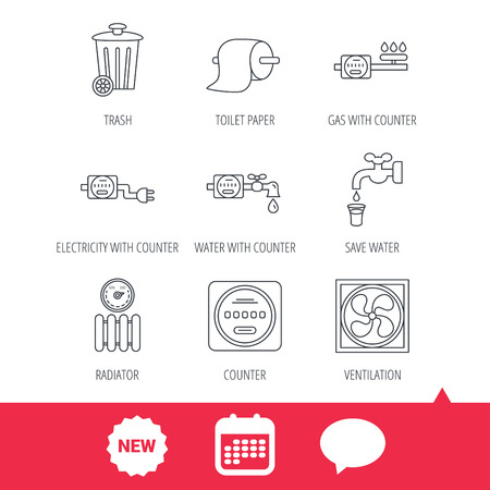 Ventilation, radiator and water counter icons. Toiler paper, gas and electricity counters linear signs. Trash icon. New tag, speech bubble and calendar web icons. Vector Illustration