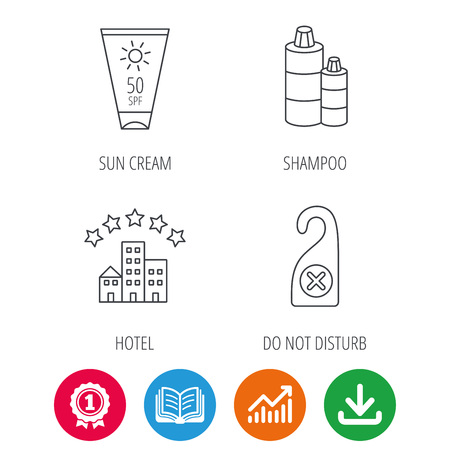 Hotel, shampoo and sun cream icons. Do not disturb linear sign. Award medal, growth chart and opened book web icons. Download arrow. Vector Illustration