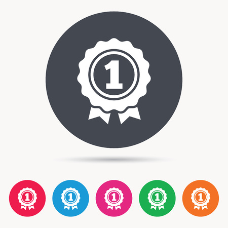 Award medal icon. Winner emblem symbol. Colored circle buttons with flat web icon. Vector Illustration