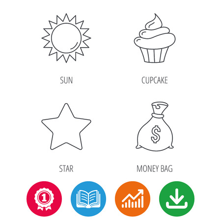 opened bag: Sun, star and cupcake icons. Money bag linear sign. Award medal, growth chart and opened book web icons. Download arrow. Vector Illustration