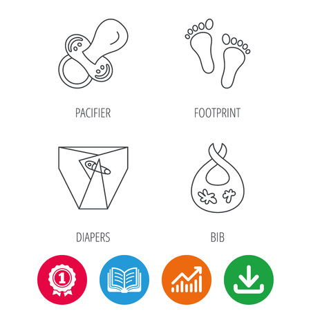 toy chest: Pacifier, footprint and child diapers icons. Dirty bib linear sign. Award medal, growth chart and opened book web icons. Download arrow. Vector Illustration