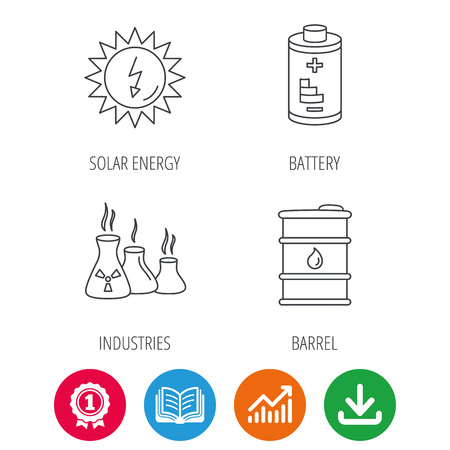 arrow poison: Solar energy, battery and oil barrel icons. Industries linear sign. Award medal, growth chart and opened book web icons. Download arrow. Vector Illustration