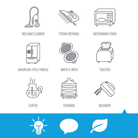 fridge lamp: Microwave oven, coffee and blender icons. Refrigerator fridge, steamer and toaster linear signs. Vacuum cleaner, ironing and waffle-iron icons. Light bulb, speech bubble and leaf web icons. Vector