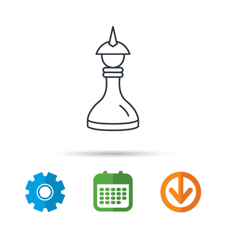 Strategy icon. Chess queen or king sign. Mind game symbol. Calendar, cogwheel and download arrow signs. Colored flat web icons. Vector