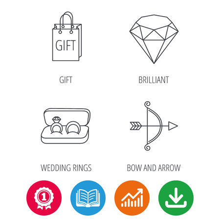 Brilliant Gift And Wedding Rings Icons Bow And Arrow Linear
