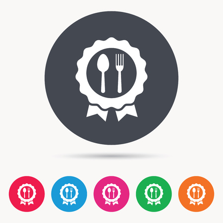 approval icon: Award medal icon. Food winner emblem symbol. Fork and spoon signs. Colored circle buttons with flat web icon. Vector
