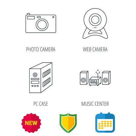 pc case: Photo camera, pc case and music center icons. Web camera linear sign. Shield protection, calendar and new tag web icons. Vector
