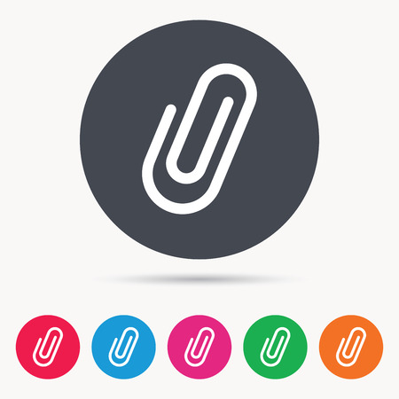 Attachment icon. Paper clip symbol. Colored circle buttons with flat web icon. Vector Illustration