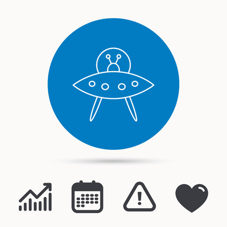 UFO icon. Unknown flying object sign. Martians symbol. Calendar, attention sign and growth chart. Button with web icon. Vector