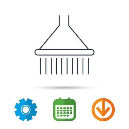 douche: Shower icon. Washing equipment sign. Calendar, cogwheel and download arrow signs. Colored flat web icons. Vector