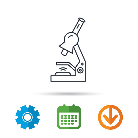 criminology: Microscope icon. Medical laboratory equipment sign. Pathology or scientific symbol. Calendar, cogwheel and download arrow signs. Colored flat web icons. Vector