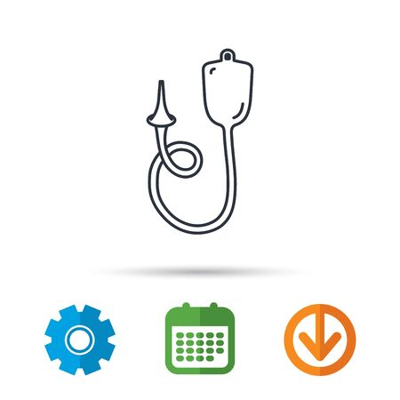 enema: Enema icon. Medical clyster sign. Calendar, cogwheel and download arrow signs. Colored flat web icons. Vector