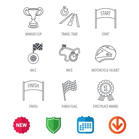 new arrow: Winner cup and award icons. Race flag, motorcycle helmet and timer linear signs. Road travel, finish and start flat line icons. New tag, shield and calendar web icons. Download arrow. Vector