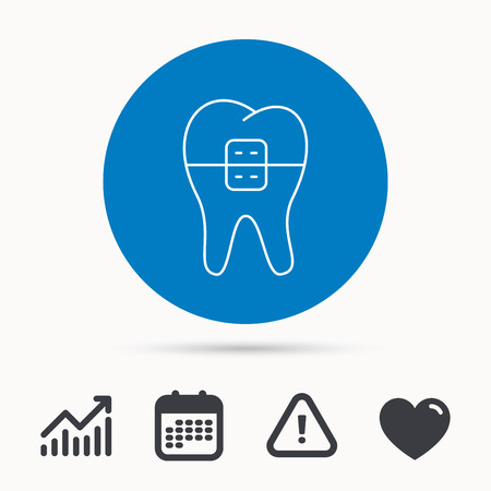 Dental braces icon. Tooth healthcare sign. Orthodontic symbol. Calendar, attention sign and growth chart. Button with web icon. Vector