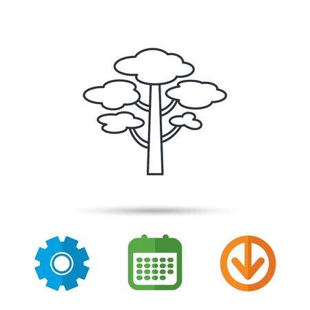 Pine tree icon. Forest wood sign. Nature environment symbol. Calendar, cogwheel and download arrow signs. Colored flat web icons. Vector