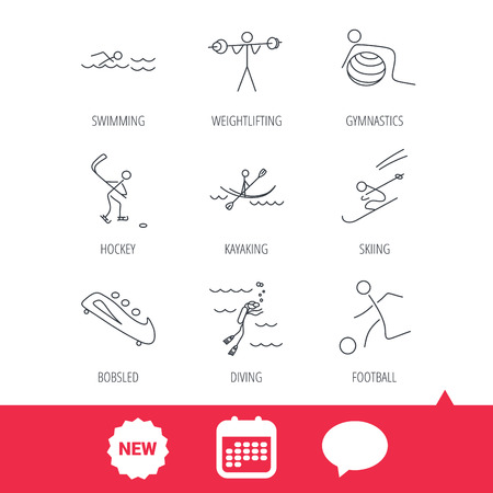 bobsleigh: Swimming, football and skiing icons. Ice hockey, diving and gymnastics linear signs. Kayaking, weightlifting and bobsleigh icons. New tag, speech bubble and calendar web icons. Vector
