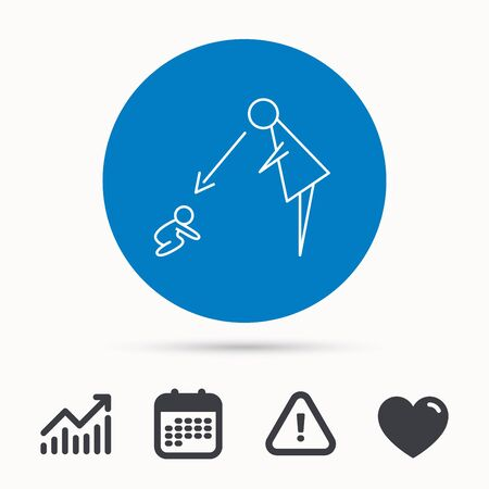 supervisión: Under nanny supervision icon. Babysitting care sign. Mother watching baby symbol. Calendar, attention sign and growth chart. Button with web icon. Vector